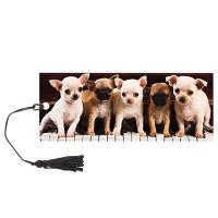 """Brauberg 128098 Закладка для книг с линейкой, 3D-объемная, BRAUBERG """"Милые щенки"""", с декоративным шнурком, 128098"""