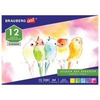 Brauberg 128963 Альбом для акварели А4 (195х270мм), ЗЕРНО, белая, 12л, 230г/м, склейка, BRAUBERG ART CLASSIC, 128963