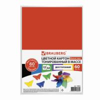 Brauberg 128986 Картон цветной А4 ТОНИРОВАННЫЙ В МАССЕ, 60 листов, 6 цветов, АССОРТИ, в пленке, 220 г/м2, BRAUBERG, 210х297 мм, 128986