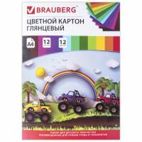 """Brauberg 129916 Картон цветной А4 МЕЛОВАННЫЙ (глянцевый), 12 листов 12 цветов, в папке, BRAUBERG, 200х290 мм, """"Гонки"""", 129916"""