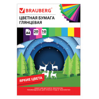 """Brauberg 129928 Цветная бумага А4 мелованная (глянцевая), 20 листов 10 цветов, в папке, BRAUBERG, 210х297мм, """"Моя страна"""", 129928"""
