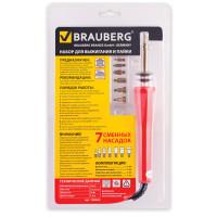 Brauberg 150620 Набор для выжигания и пайки BRAUBERG, 7 насадок, красный, в блистере, 150620