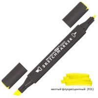 Brauberg 151781 Маркер для скетчинга двусторонний 1 мм - 6 мм BRAUBERG ART CLASSIC, ЖЕЛТЫЙ ФЛУОРЕСЦЕНТНЫЙ (F01), 151781