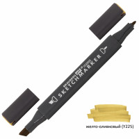 Brauberg 151820 Маркер для скетчинга двусторонний 1 мм - 6 мм BRAUBERG ART CLASSIC, ЖЕЛТО-ОЛИВКОВЫЙ (Y225), 151820