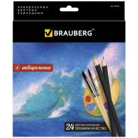 """Brauberg 180570 Карандаши цветные акварельные BRAUBERG """"Artist line"""", 24 цвета, заточенные, высшее качество, 180570"""