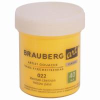 Brauberg 191575 Гуашь художественная 1 шт., BRAUBERG ART CLASSIC, баночка 40 мл, ЖЕЛТАЯ СВЕТЛАЯ, 191575