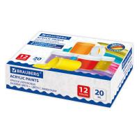 Brauberg 191607 Краски акриловые для рисования и хобби BRAUBERG 12 цветов ассорти по 20 мл (6 базовые + 6 с эффектами), 191607