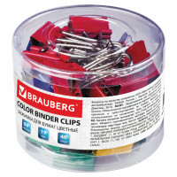 Brauberg 221127 Зажимы для бумаг BRAUBERG, КОМПЛЕКТ 40 шт., 19 мм, на 60 листов, цветные, в пластиковом цилиндре, 221127