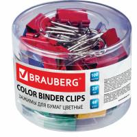 Brauberg 221128 Зажимы для бумаг BRAUBERG, КОМПЛЕКТ 48 шт., 25 мм, на 100 листов, цветные, в пластиковом цилиндре, 221128