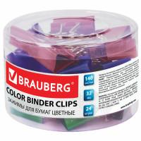 Brauberg 221129 Зажимы для бумаг BRAUBERG, КОМПЛЕКТ 24 шт., 32 мм, на 140 листов, цветные, в пластиковом цилиндре, 221129