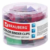 Brauberg 221130 Зажимы для бумаг BRAUBERG, КОМПЛЕКТ 24 шт., 41 мм, на 200 листов, цветные, в пластиковом цилиндре, 221130