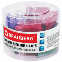 Brauberg 221131 Зажимы для бумаг BRAUBERG, КОМПЛЕКТ 12 шт., 51 мм, на 230 листов, цветные, в пластиковом цилиндре, 221131