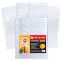 Brauberg 221713 Папки-файлы перфорированные А4 BRAUBERG, КОМПЛЕКТ 100 шт., матовые, 45 мкм, 221713