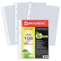 Brauberg 221714 Папки-файлы МАЛОГО ФОРМАТА (148х210 мм), А5, ВЕРТИКАЛЬНЫЕ, КОМПЛЕКТ 100 шт., 35 мкм, BRAUBERG, 221714