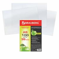 Brauberg 223085 Папки-файлы МАЛОГО ФОРМАТА (148х210 мм), А5, ГОРИЗОНТАЛЬНЫЕ, КОМПЛЕКТ 100 шт., 35 мкм, BRAUBERG, 223085