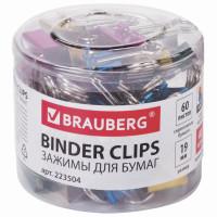 Brauberg 223504 Зажимы для бумаг BRAUBERG, КОМПЛЕКТ 40 шт., 19 мм, на 60 листов, цвет металлик, пластиковый цилиндр, 223504
