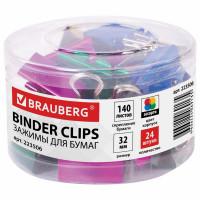 Brauberg 223506 Зажимы для бумаг BRAUBERG, КОМПЛЕКТ 24 шт., 32 мм, на 140 листов, цвет металлик, пластиковый цилиндр, 223506