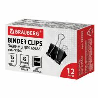 Brauberg 223969 Зажимы для бумаг BRAUBERG, КОМПЛЕКТ 12 шт., 15 мм, на 45 листов, черные, картонная коробка, 223969