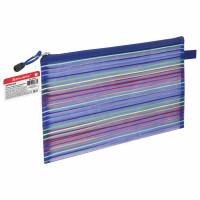 "Brauberg 224047 Папка-конверт на молнии формат B5+ (310х220 мм), сетчатая ткань, BRAUBERG ""Stripes"", 224047"