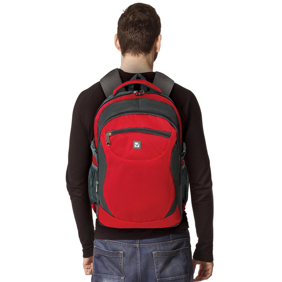 """Рюкзак для школы и офиса BRAUBERG """"StreetBall 2"""", 30 л, размер 48х34х18 см, ткань, серо-красный, 224452 (арт. 224452)"""