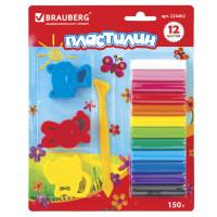 Brauberg 224462 Пластилин классический BRAUBERG 12 цветов, 150 г, стек, 3 штампа, ВЫСШЕЕ КАЧЕСТВО, блистер, 224462