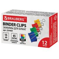 Brauberg 224469 Зажимы для бумаг BRAUBERG, КОМПЛЕКТ 12 шт., 15 мм, на 45 листов, цветные, картонная коробка, 224469