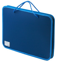 Brauberg 225163 Папка на молнии пластиковая с ручками BRAUBERG, А4, 350х270х45 мм, фактура бисер, синяя, 225163