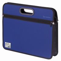 Brauberg 225167 Сумка пластиковая BRAUBERG, А4+, 390х315х70 мм, на молнии, внешний карман, фактура бисер, синяя, 225167