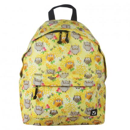 """Рюкзак BRAUBERG универсальный, сити-формат, желтый, """"Совушки в цветах"""", 20 литров, 41х32х14 см, 226405 (арт. 226405)"""