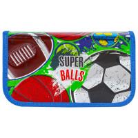 Brauberg 228101 Пенал BRAUBERG, 2 отделения, металлизированный картон, конгрев, 19х11 см, Супер-мячи, 228101