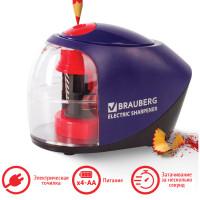 "Brauberg 228421 Точилка электрическая BRAUBERG ""Delta"", питание от 4 батареек АА, спиралевидное лезвие, 228421"