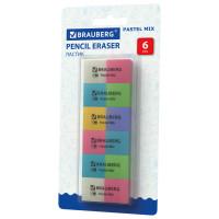 """Brauberg 229597 Набор ластиков BRAUBERG """"Pastel Mix"""", 6 шт., цвета ассорти, 44*21*10мм, экологичный ПВХ, 229597"""