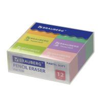 "Brauberg 229598 Ластики BRAUBERG ""Pastel Soft"" НАБОР 12 шт., размер ластика 31х20х10 мм, экологичный ПВХ, 229598"
