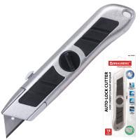 """Brauberg 235403 Нож универсальный мощный BRAUBERG """"Professional"""", 6 лезвий в комплекте, фиксатор, металл, 235403"""
