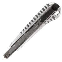 "Brauberg 236971 Нож универсальный 9 мм BRAUBERG ""Metallic"", металлический корпус (рифленый), автофиксатор, блистер, 236971"