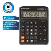 Brauberg 250474 Калькулятор настольный BRAUBERG EXTRA-14-BK (206x155 мм), 14 разрядов, двойное питание, ЧЕРНЫЙ, 250474