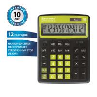 Brauberg 250477 Калькулятор настольный BRAUBERG EXTRA COLOR-12-BKLG (206x155 мм), 12 разрядов, двойное питание, ЧЕРНО-САЛАТОВЫЙ, 250477