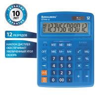 Brauberg 250482 Калькулятор настольный BRAUBERG EXTRA-12-BU (206x155 мм), 12 разрядов, двойное питание, СИНИЙ, 250482