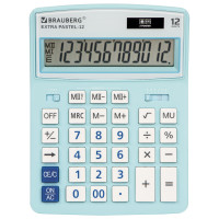 Brauberg 250486 Калькулятор настольный BRAUBERG EXTRA PASTEL-12-LB (206x155 мм), 12 разрядов, двойное питание, ГОЛУБОЙ, 250486