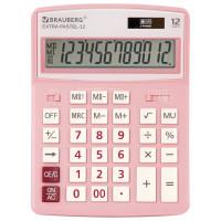 Brauberg 250487 Калькулятор настольный BRAUBERG EXTRA PASTEL-12-PK (206x155 мм), 12 разрядов, двойное питание, РОЗОВЫЙ, 250487