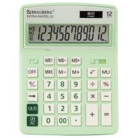 Brauberg 250488 Калькулятор настольный BRAUBERG EXTRA PASTEL-12-LG (206x155 мм), 12 разрядов, двойное питание, МЯТНЫЙ, 250488