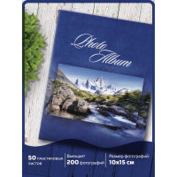 """Brauberg 390669 Фотоальбом BRAUBERG на 200 фотографий 10х15 см, твердая обложка, """"Горный пейзаж"""", синий, 390669"""