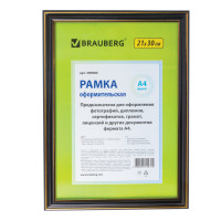 "Brauberg 390984 Рамка 21х30 см, пластик, багет 20 мм, BRAUBERG ""HIT3"", черная с двойной позолотой, стекло, 390984"