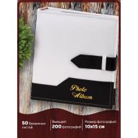 Brauberg 391114 Фотоальбом BRAUBERG на 200 фото. 10х15 см, под замшу, бумажные страницы, бокс, белый с черным, 391114
