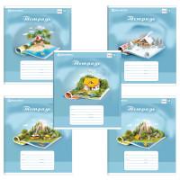 Brauberg 402993 Тетрадь 18 л. BRAUBERG, клетка, обложка картон, WORLD IN BOOK, 402993 (упаковка 5 шт)