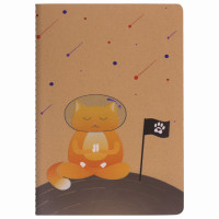Brauberg 403762 Тетрадь A5 (147х210мм) 40л, сшивка, клетка, КРАФТ, бежевая бумага 70г/м, SPACE CAT, BRAUBERG, 403762