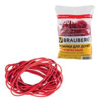 Brauberg 440101 Резинки банковские универсальные диаметром 60 мм, BRAUBERG 1000 г, красные, натуральный каучук, 440101