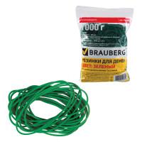 Brauberg 440103 Резинки банковские универсальные диаметром 60 мм, BRAUBERG 1000 г, зеленые, натуральный каучук, 440103