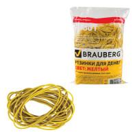 Brauberg 440104 Резинки банковские универсальные диаметром 60 мм, BRAUBERG 1000 г, желтые, натуральный каучук, 440104