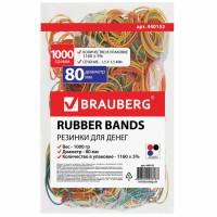 Brauberg 440152 Резинки банковские универсальные диаметром 80 мм, BRAUBERG 1000 г, цветные, натуральный каучук, 440152